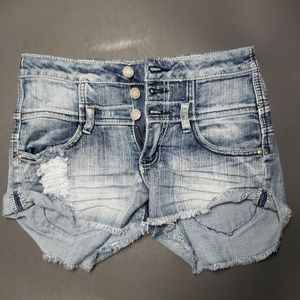 Almost famous high waisted denim shorts sz 3